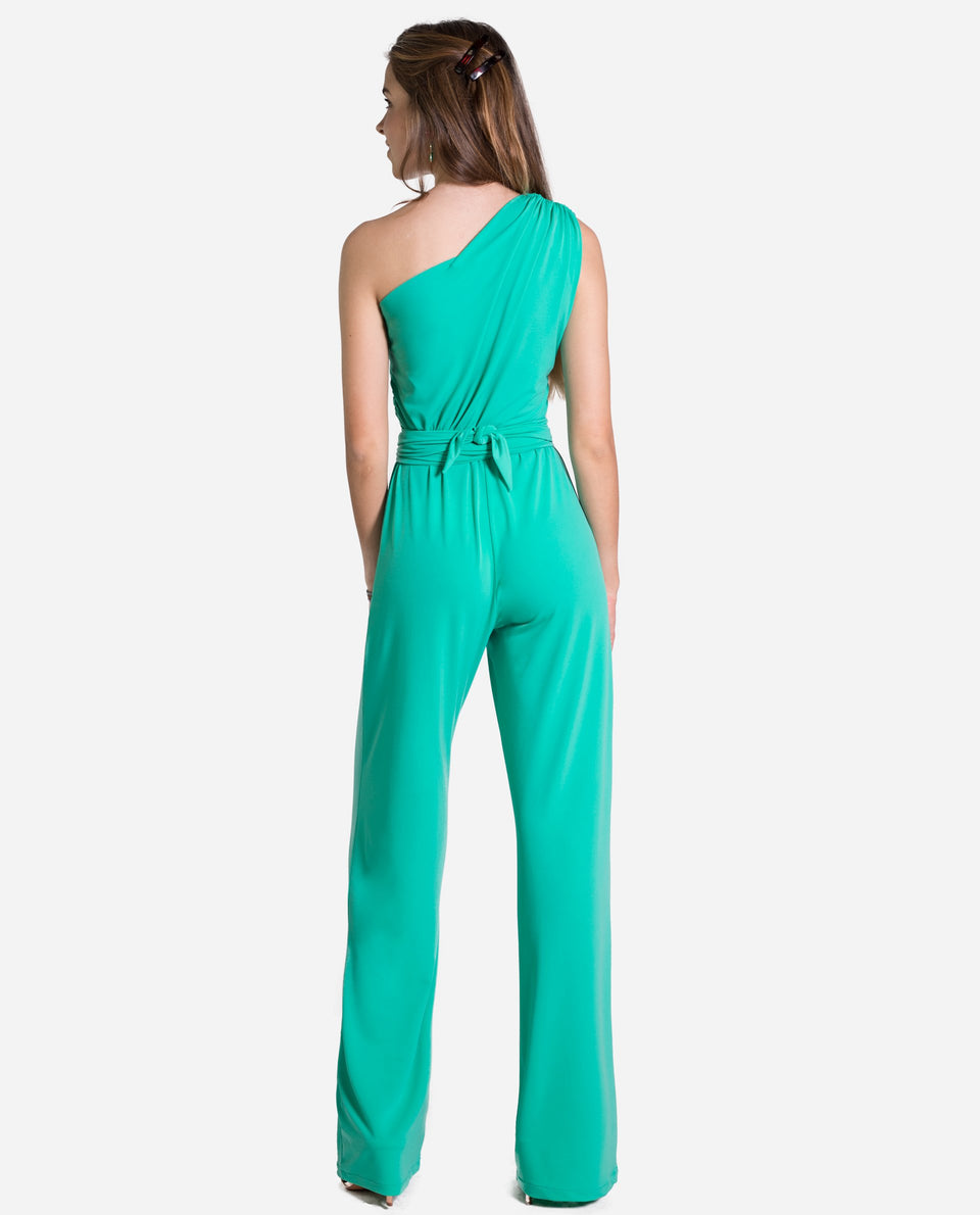 MONO ONE | Long green jumpsuit asymmetric neckline holding woman | THE-ARE
