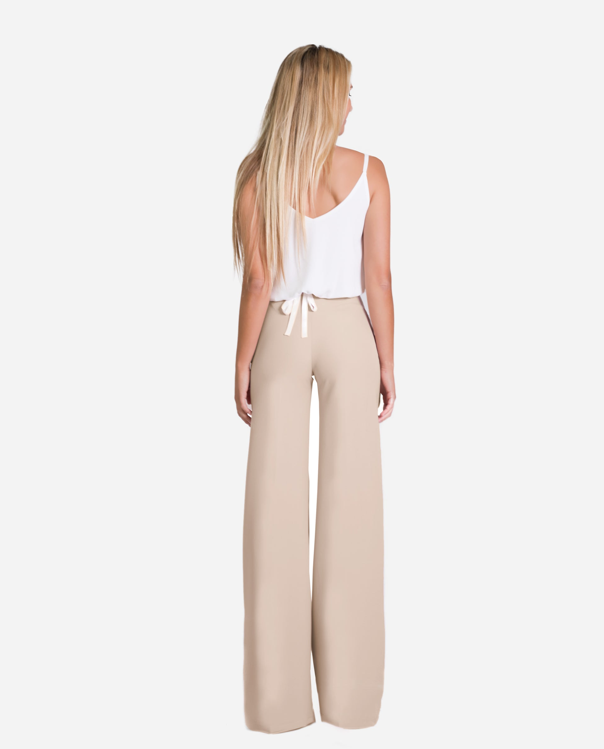 Palazzo Trousers Beige Waist High Rubber Waist The Are
