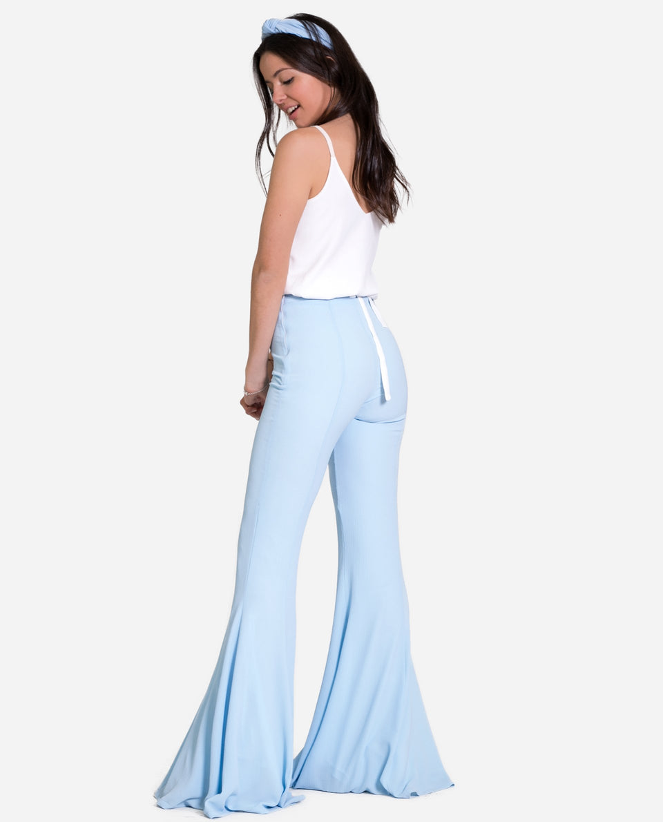 SIRENA TROUSERS | Long pants with lots of light blue bell, elegant woman | THE-ARE