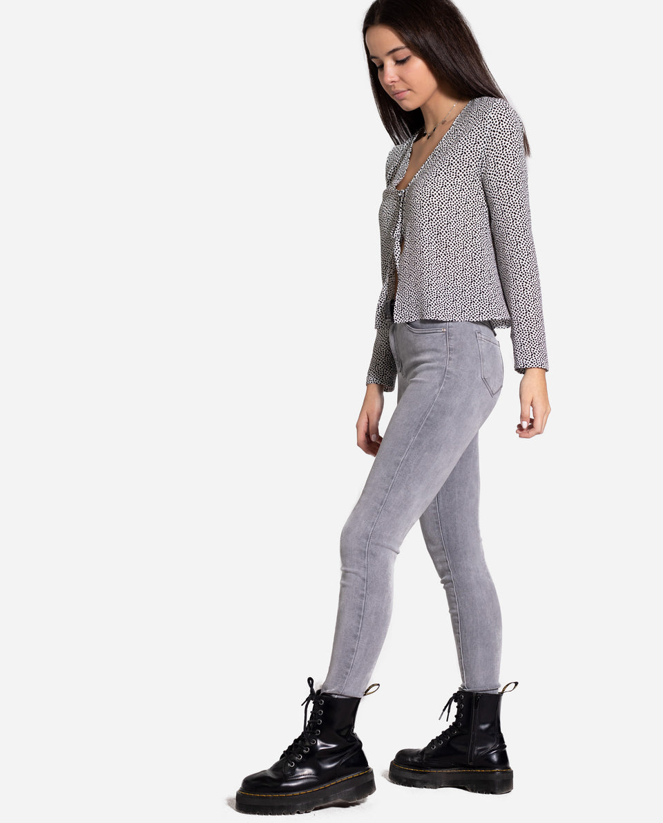 DENIM ILLINOIS | Vaquero gris claro slim de mujer | Jeans skinny grises| THE-ARE