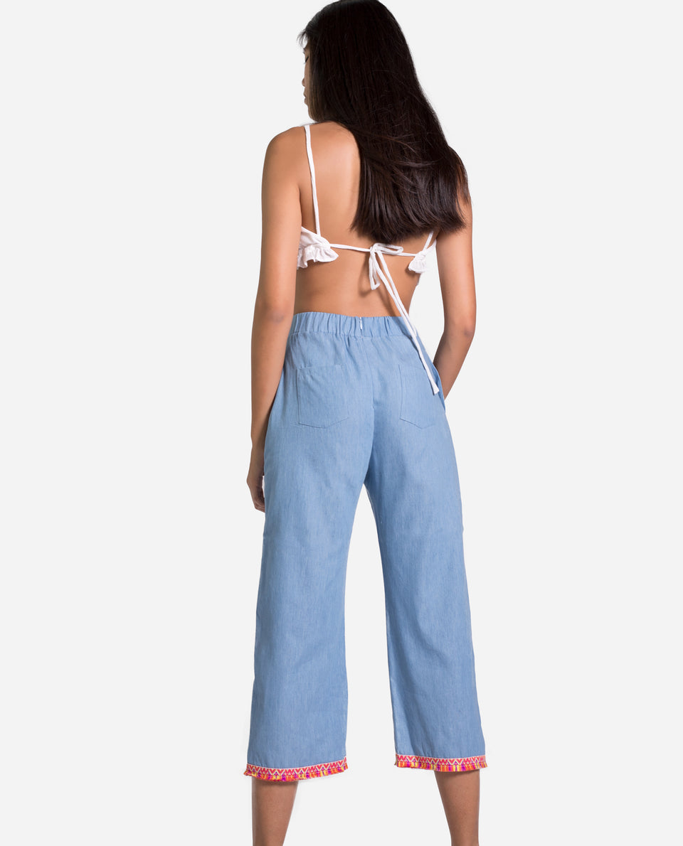 Cuba pants | Cropped denim pants with fantasy detail for woman | THE-ARE