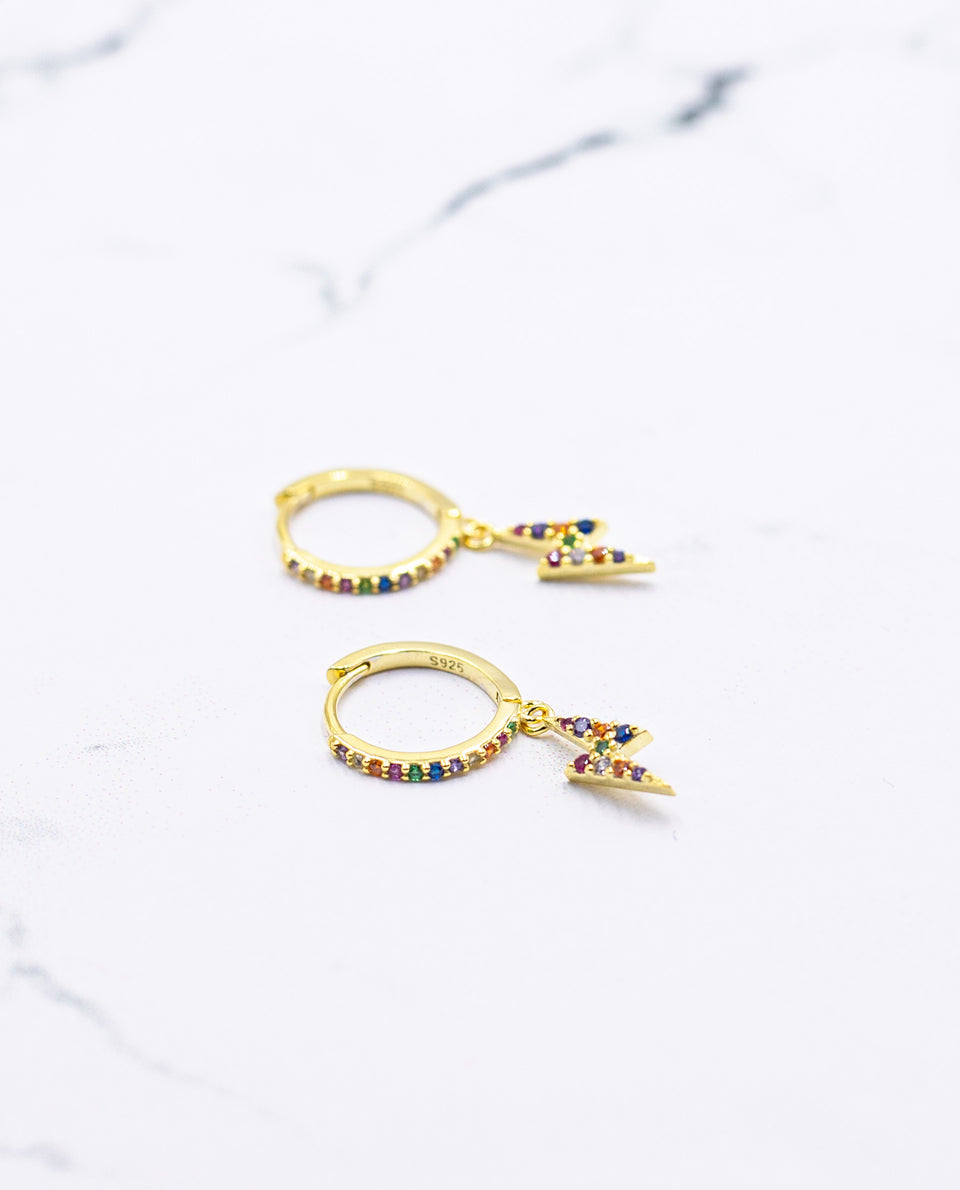 PENDIENTES BOREAL | Pendientes aro con rayo multicolor circonitas | Joyitas THE-ARE