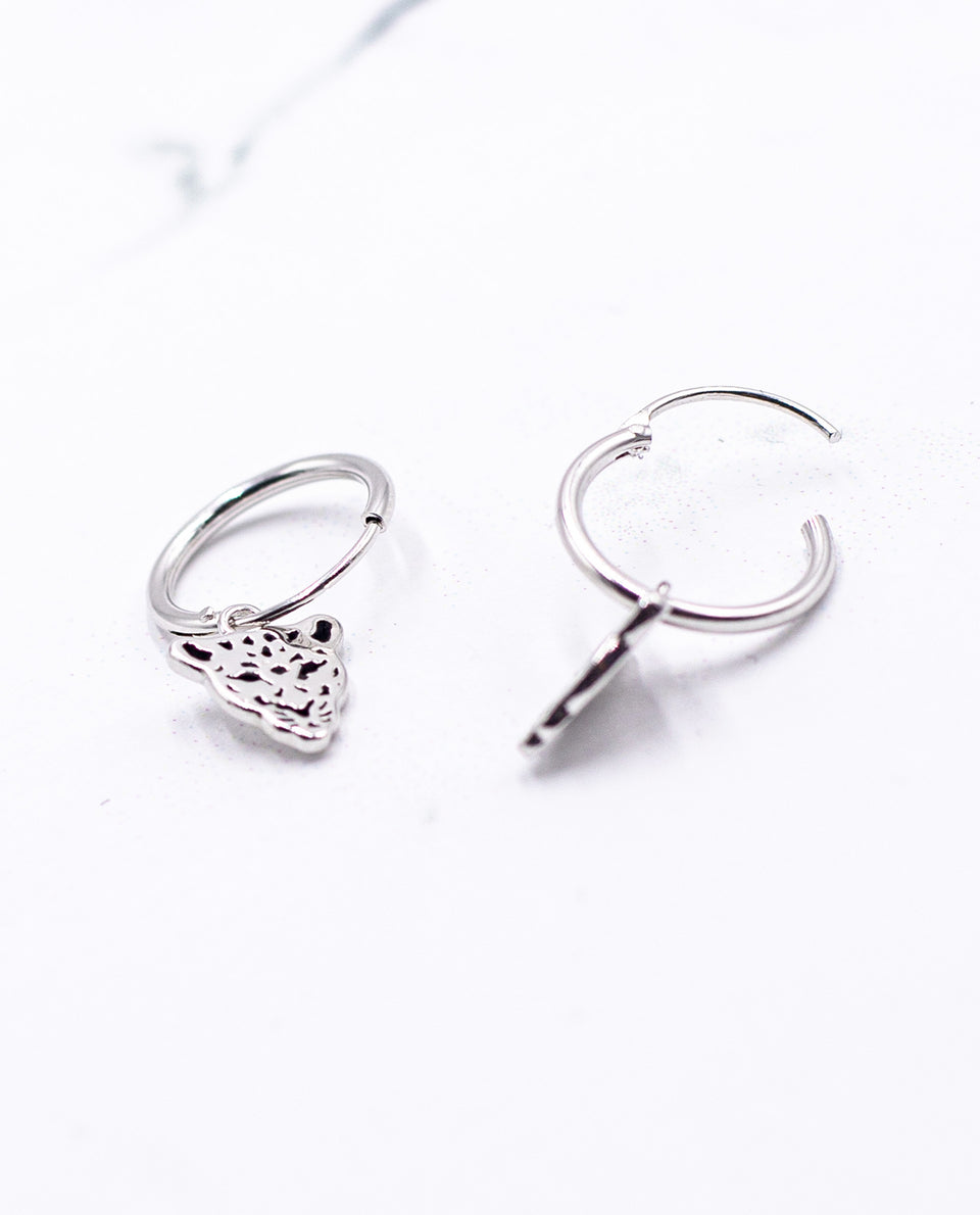 Pendientes aro plata 925 colgante tigre | Joyitas THE-ARE