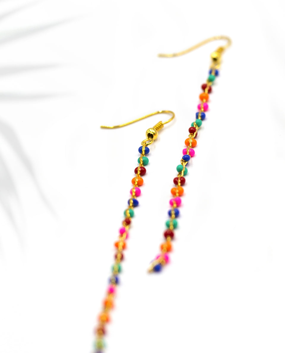 PENDIENTES WONDER · DORADO Y MULTICOLOR