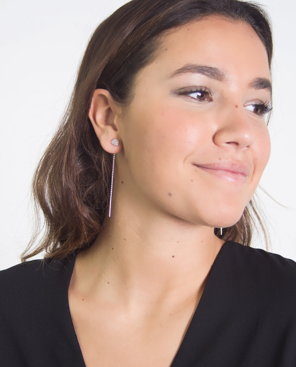 Chain and pink stone earrings | Accessories and earrings | THE-ARE