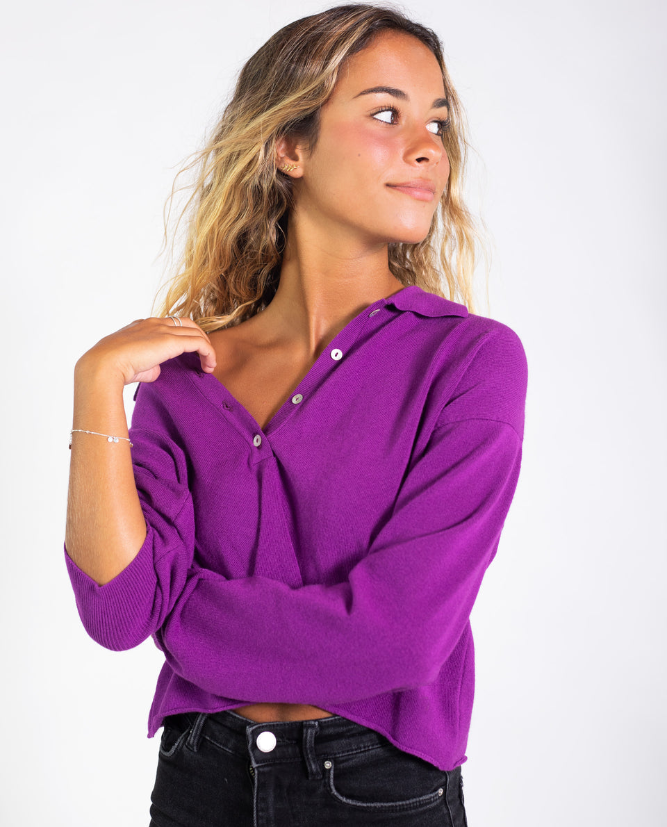 POLO LITTLE PREPPY | Jersey polo morado abertura cremallera | Jerseys chicas THE-ARE