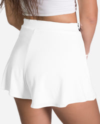 SHORT KENDALL | Short blanco talle alto con lentejuelas plata mujer | THE-ARE