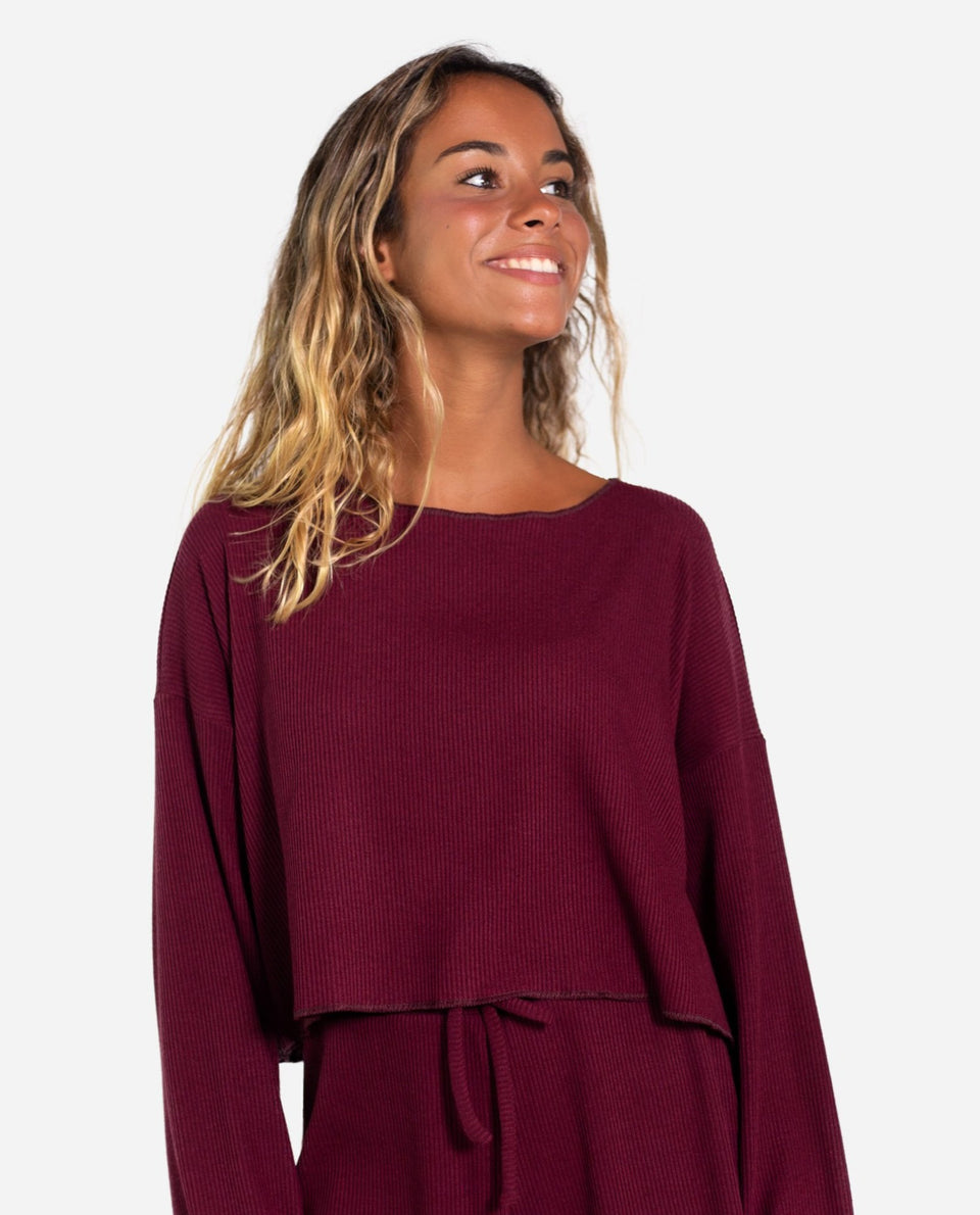SUÉTER WITTY | Jersey canalé granate oversize | Jerseys finos mujer THE-ARE