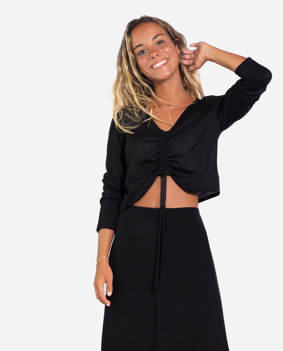 SUETER SOUL SISTER | Sueter fino negro canalé con frunce regulable mujer | THE-ARE