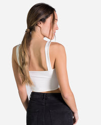 TOP CHARLIE | Top blanco de tirantes corto de flecos | Tops de fiesta chica | THE-ARE