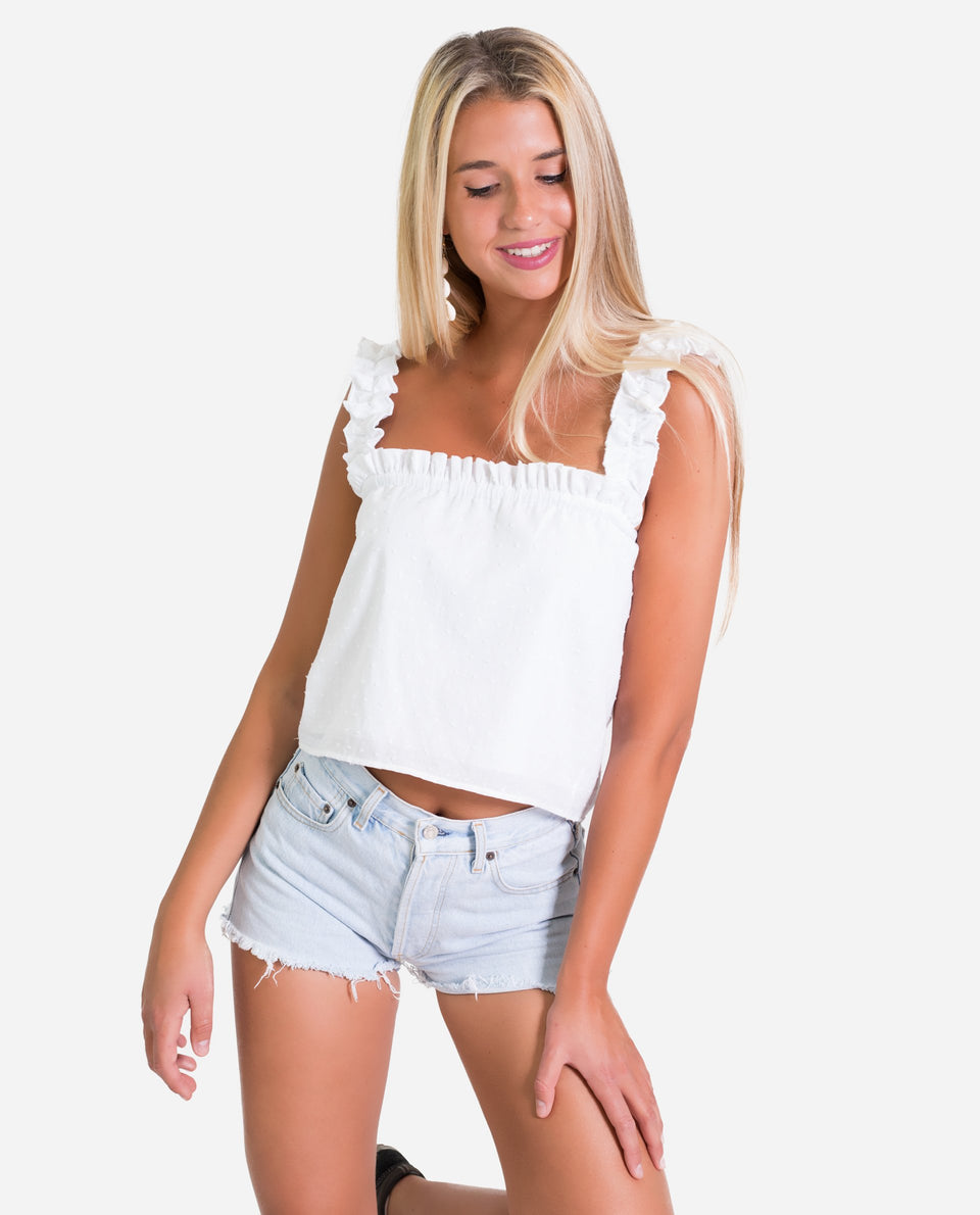 TOP MALLORCA | White blouse with plumeti straps with ruffles straight cut | THE-ARE