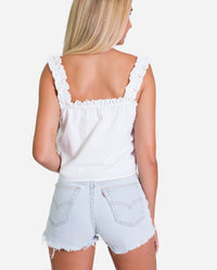 TOP MALLORCA | Blusa blanca de plumeti tirantes con volantes corte recto | THE-ARE