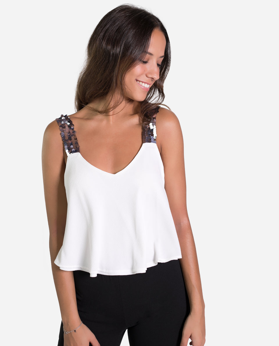 CROPTOP ORIGINAL | Top blanco tirantes lentejuelas con vuelo mujer | THE-ARE