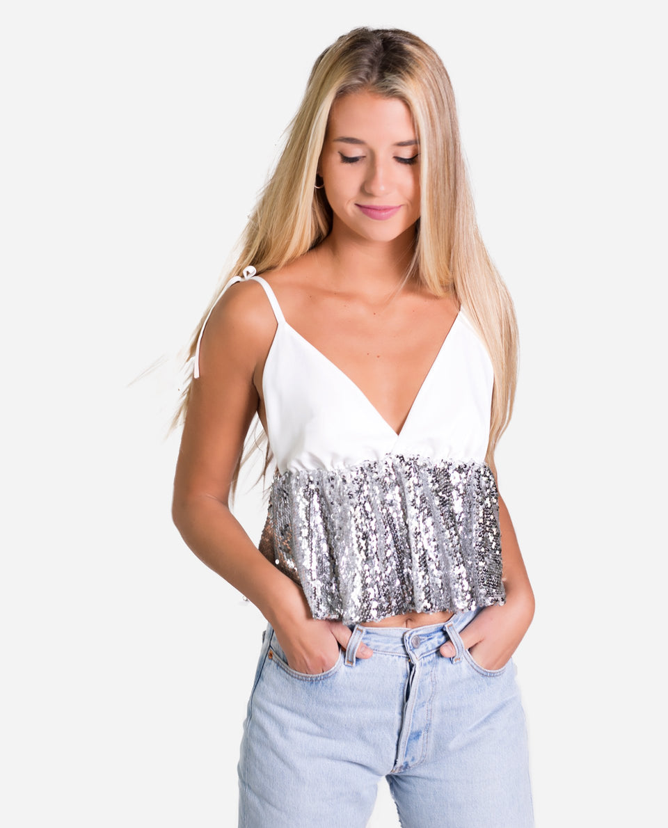 TOP NIXX | White and silver sequined tank top | Girl party tops | THE-ARE
