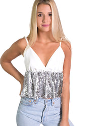 TOP NIXX | Top de tirantes con lentejuelas blanco y plata | Tops fiesta chica | THE-ARE