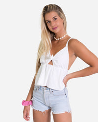 Blusa tirantes tejido plumeti con vuelo regulable con lazada | THE-ARE