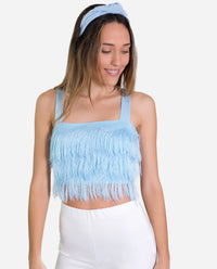 TOP CHARLIE | Top celeste de tirantes corto de flecos | Tops de fiesta chica | THE-ARE