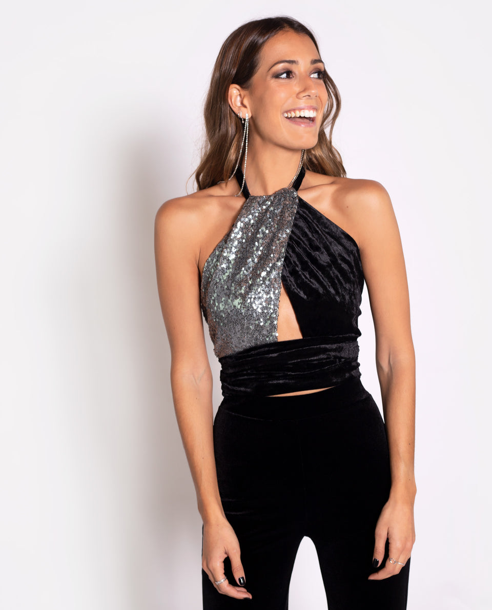 Top halter negro con lentejuelas plata regulable de fiesta | THE-ARE