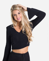 Top corto negro con brillo mangas acampanadas fiesta mujer | THE-ARE