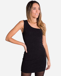 Vestido ajustado negro con brillo asimétrico para salir | THE-ARE