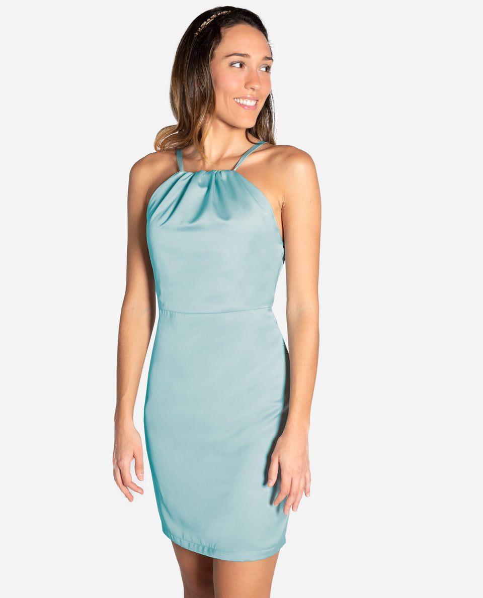 VESTIDO MRS SPENCER | Vestido corto verde menta elegante invitada escote halter | THE-ARE
