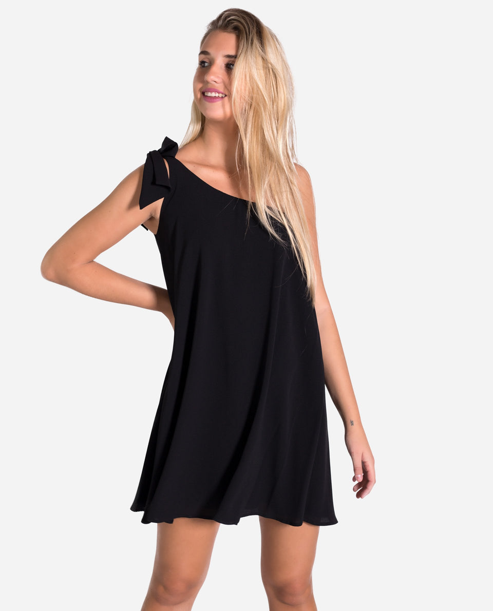 MINI DRESS CHLOE | Short black dress with flared asymmetric neckline | THE-ARE
