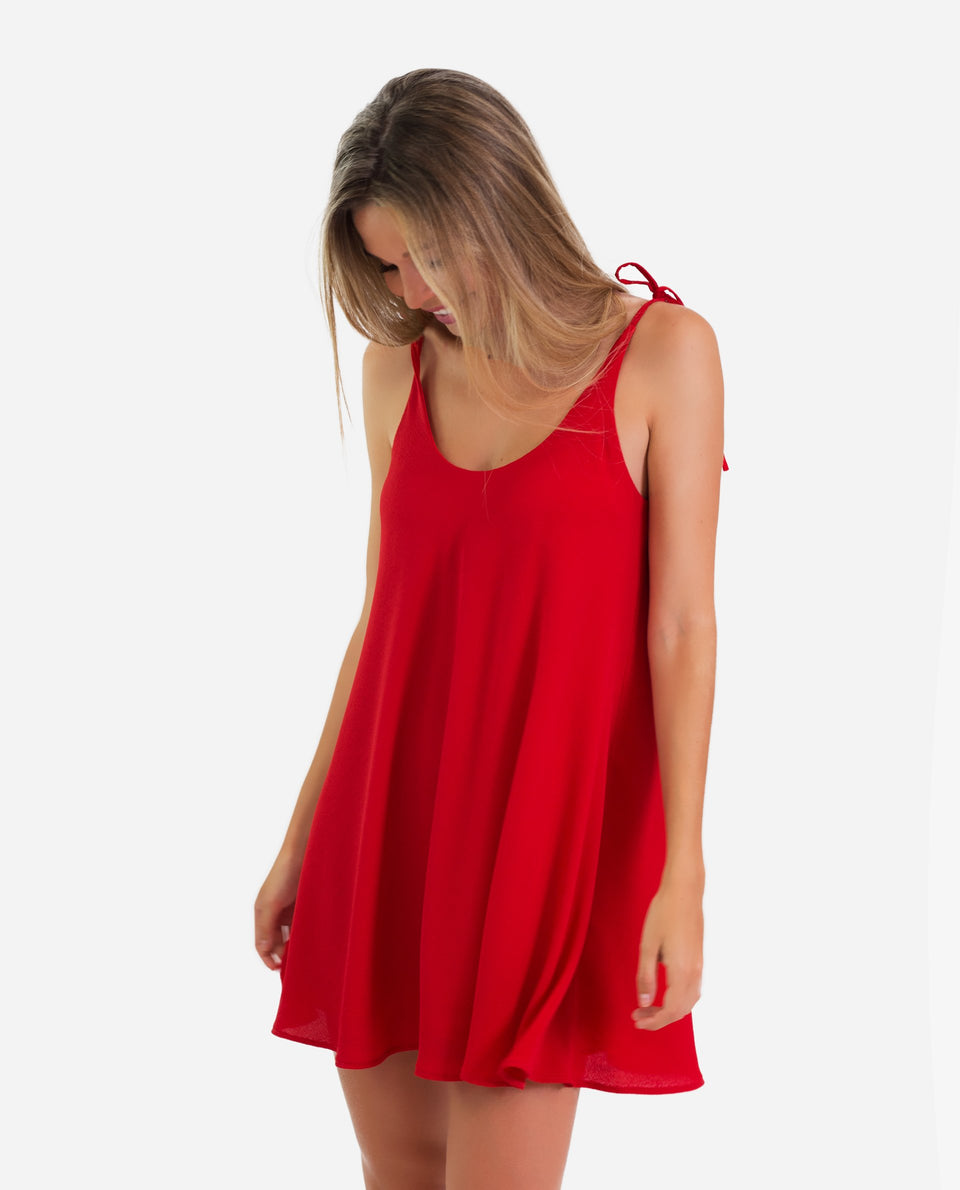 MINI DRESS | Vestido corto rojo con vuelo tirantes regulables lazada | THE-ARE