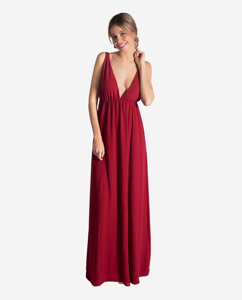 GREECE DRESS | Long red dress with V-neckline and open back for women events | THE-ARE