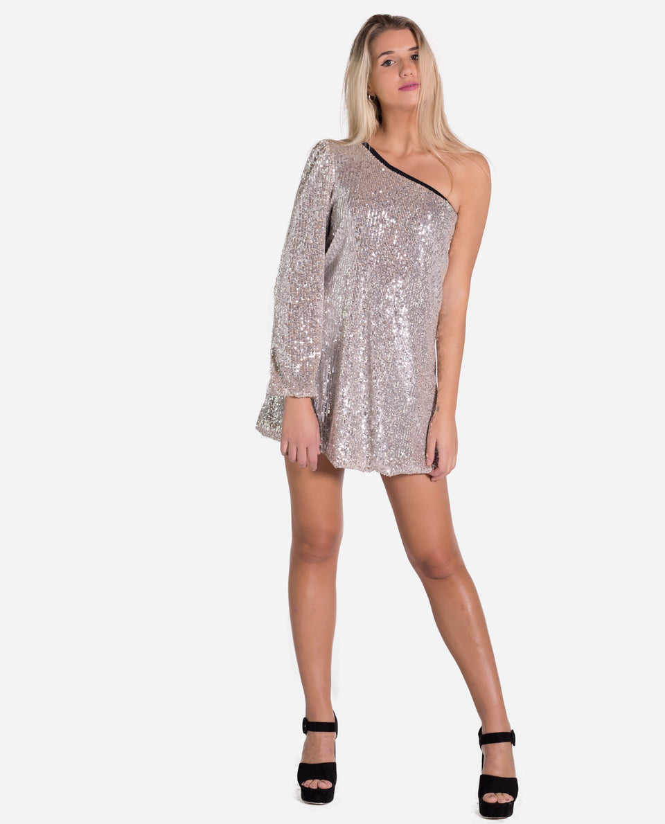 DRESS SARAH | Elegant sequin asymmetric short dress for women | THE-ARE