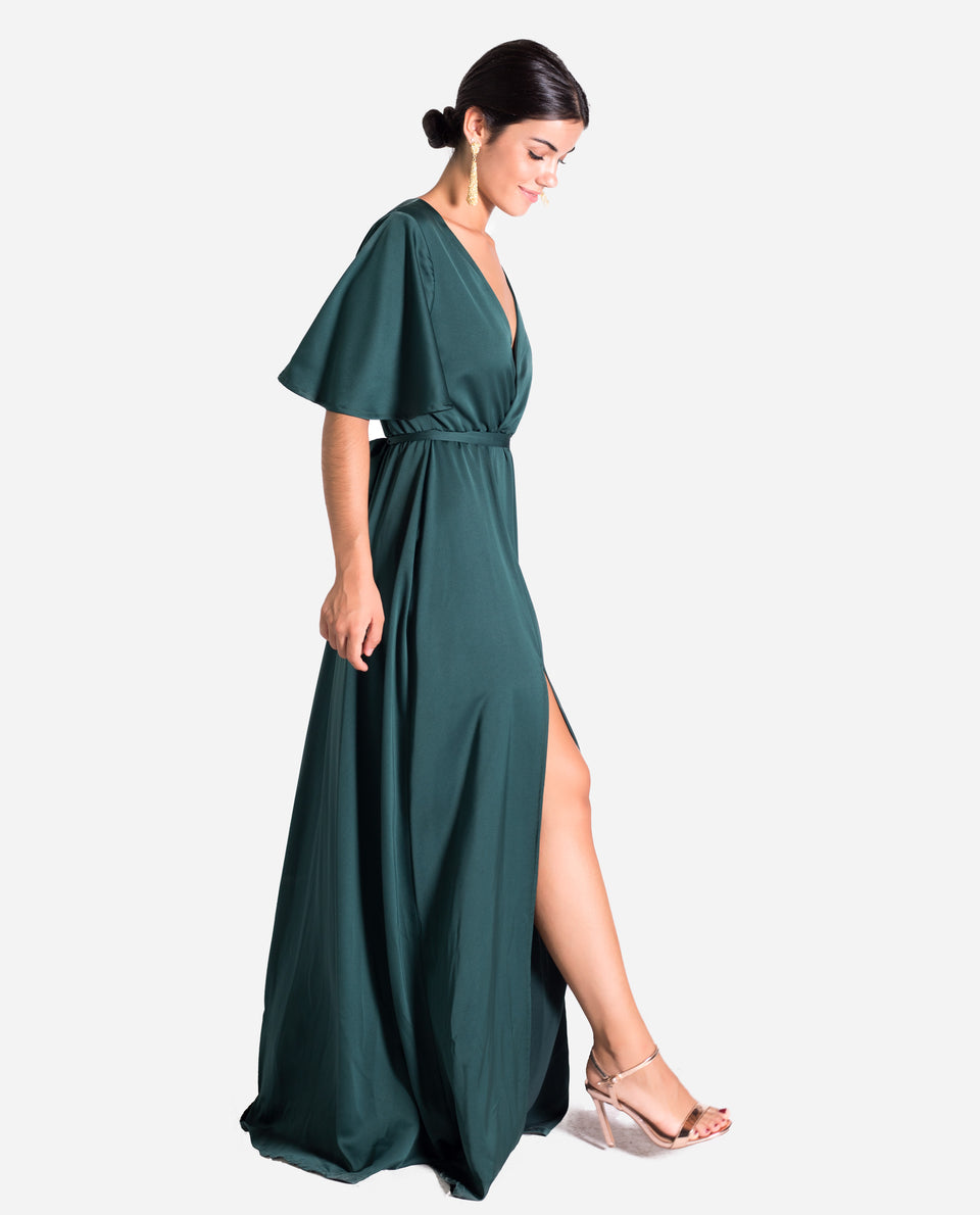 VESTIDO CANNES | Vestido largo verde botella elegante mujer | Invitada perfecta THE-ARE