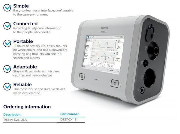 New Philips Respironics Trilogy Evo Portable Life Support Ventilator DS2110X11B - MBR Medicals
