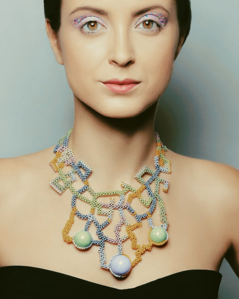 Model Wearing Mara Colecchia Japanese and Vintage Beads Designer Collar Necklace on IndieFaves