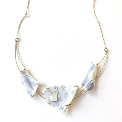 Porcelain Blue Fragments Necklace On IndieFaves