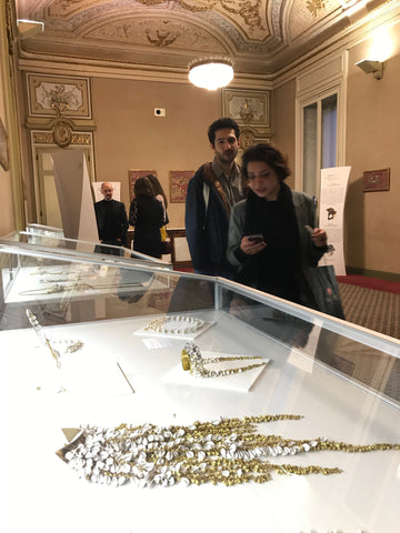 Art Collectors at a contemporary jewelry show in Spain