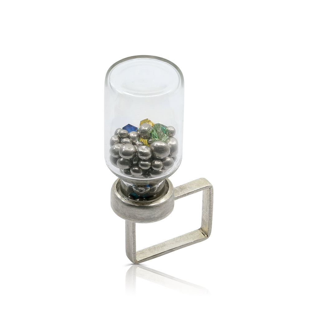 Abreme Despacio - One Of A Kind Silver Bottle Designer Ring with Swarovski Crystals on IndieFaves