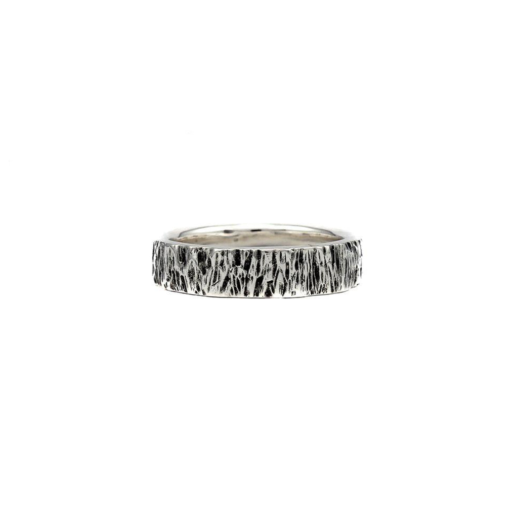 Men's Oxidized Sterling Silver Husk 8 Ring on IndieFaves