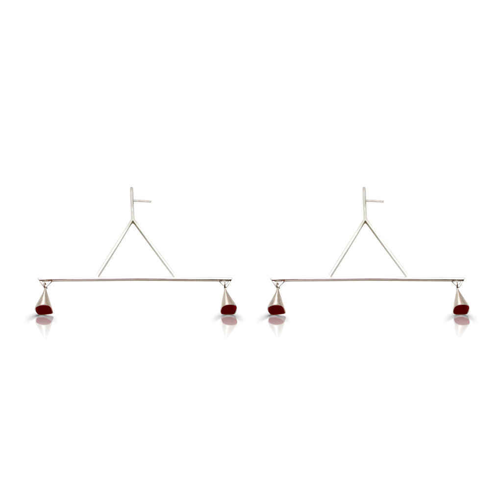 Anja Berg - Silver and Red Enamel Auditory Temperance Earrings