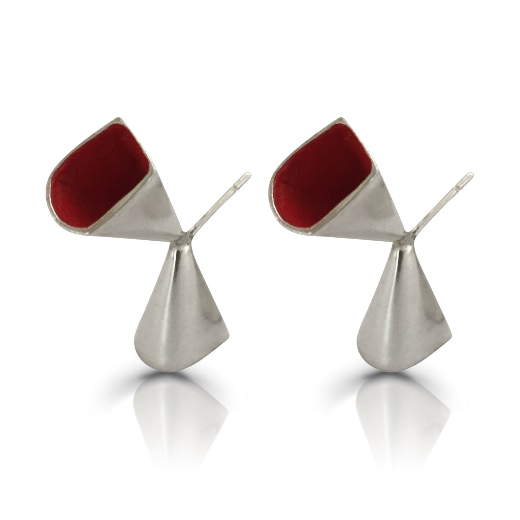 Anja Berg - Silver and Red Enamel Chalice Designer Earrings on IndieFaves