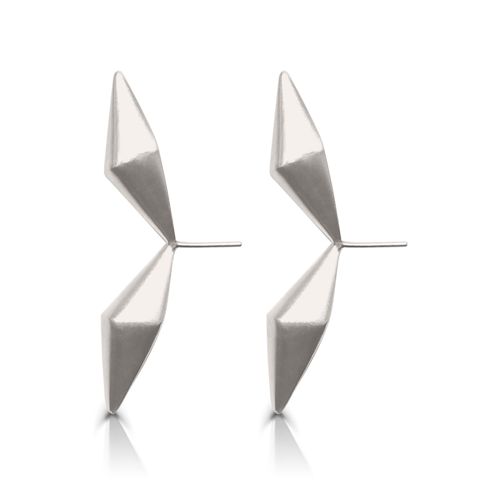Anja Berg - Silver and Red Enamel Directional Designer Earrings on IndieFaves