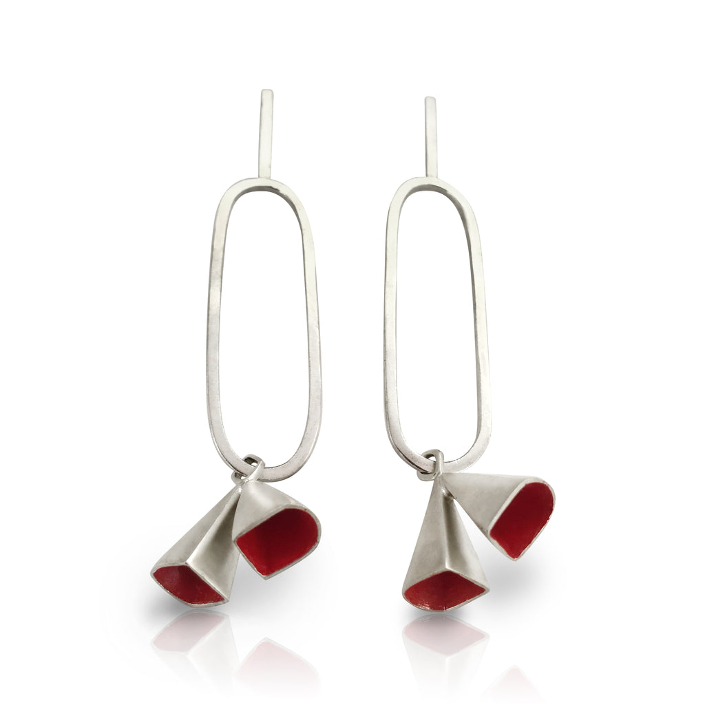 Anja Berg - Silver and Red Enamel Fall of Double Bells Earrings