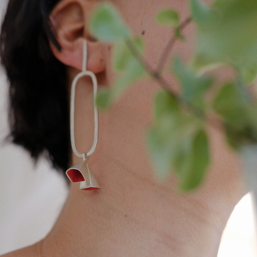 Anja Berg - Silver and Red Enamel Fall of Double Bells Designer Earrings on IndieFaves