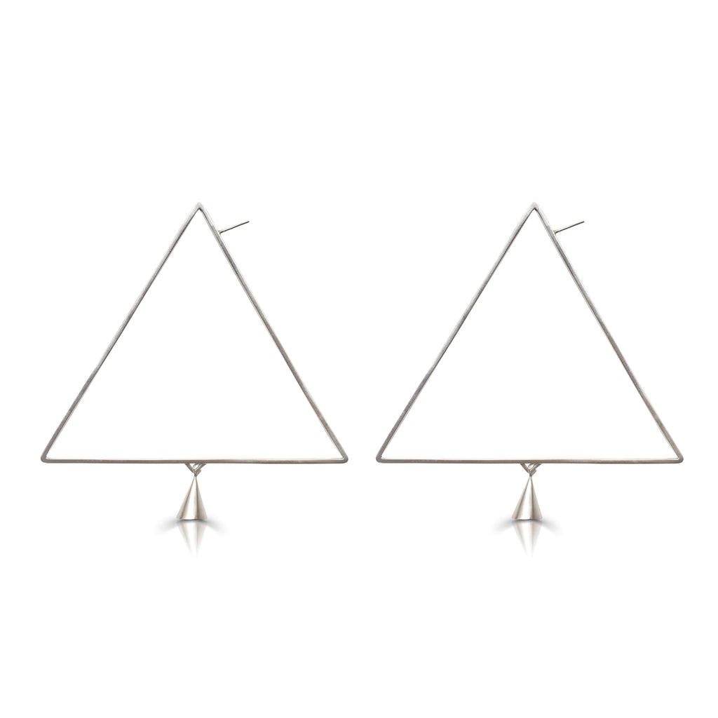 Anja Berg - Silver and Red Enamel Light Triangle Designer Earrings on IndieFaves