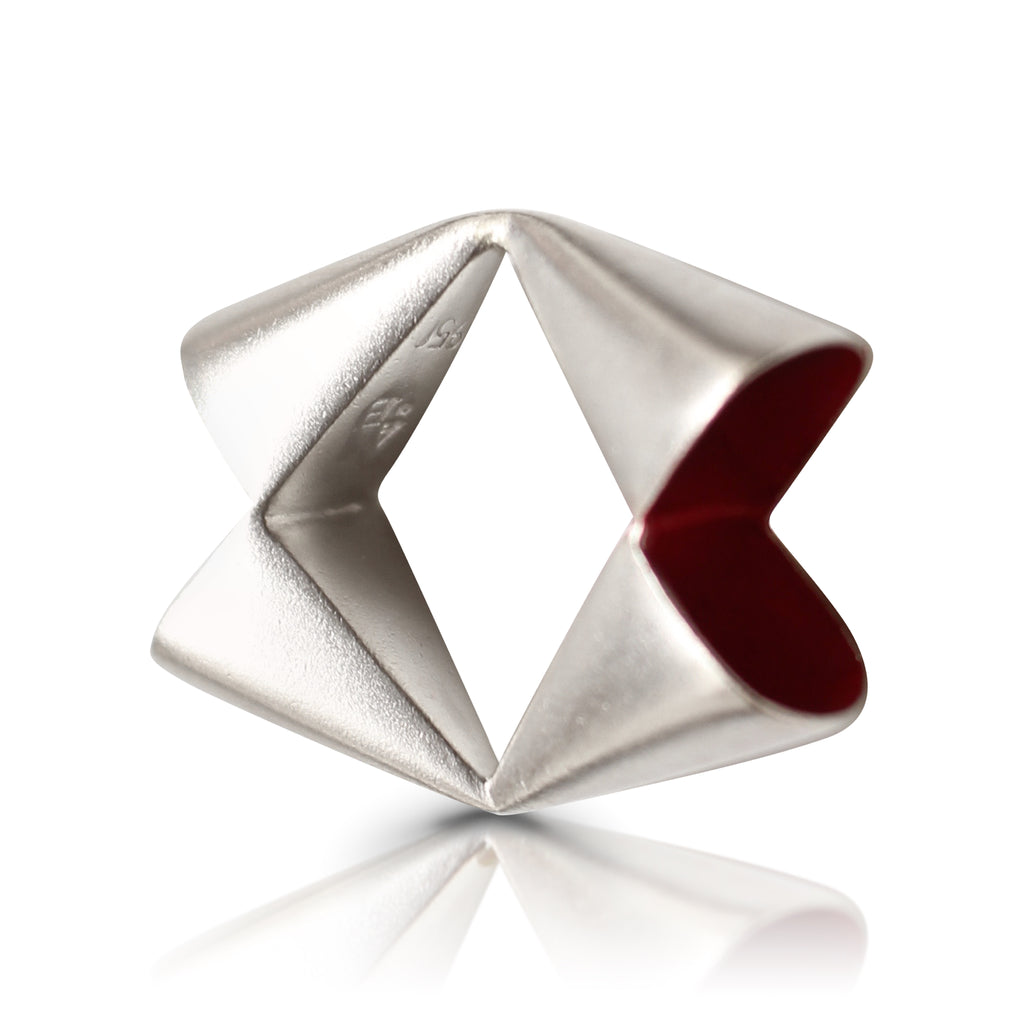 Anja Berg - Silver and Red Enamel Open Rhomb Designer Ring on IndieFaves