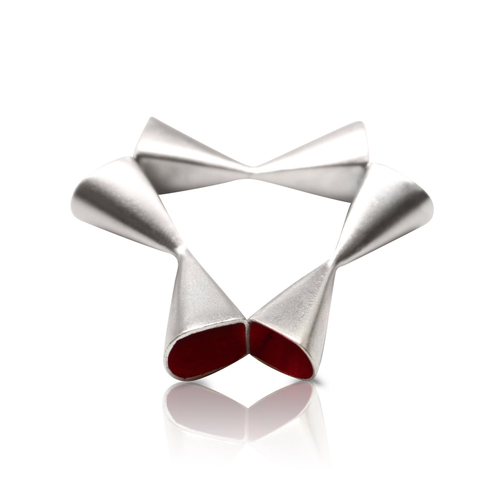 Anja Berg - Silver and Red Enamel Open Triangle Ring  Red Enamel Open Rhomb Ring