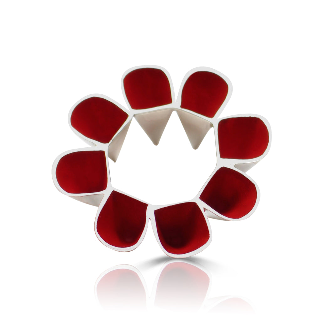 Anja Berg - Silver and Red Enamel Protective Continuity Designer Ring on IndieFaves
