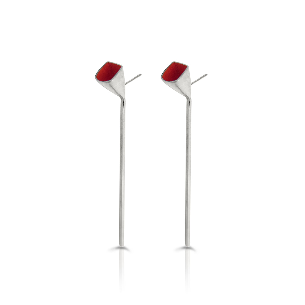 Anja Berg - Silver and Red Enamel Red Line Earrings