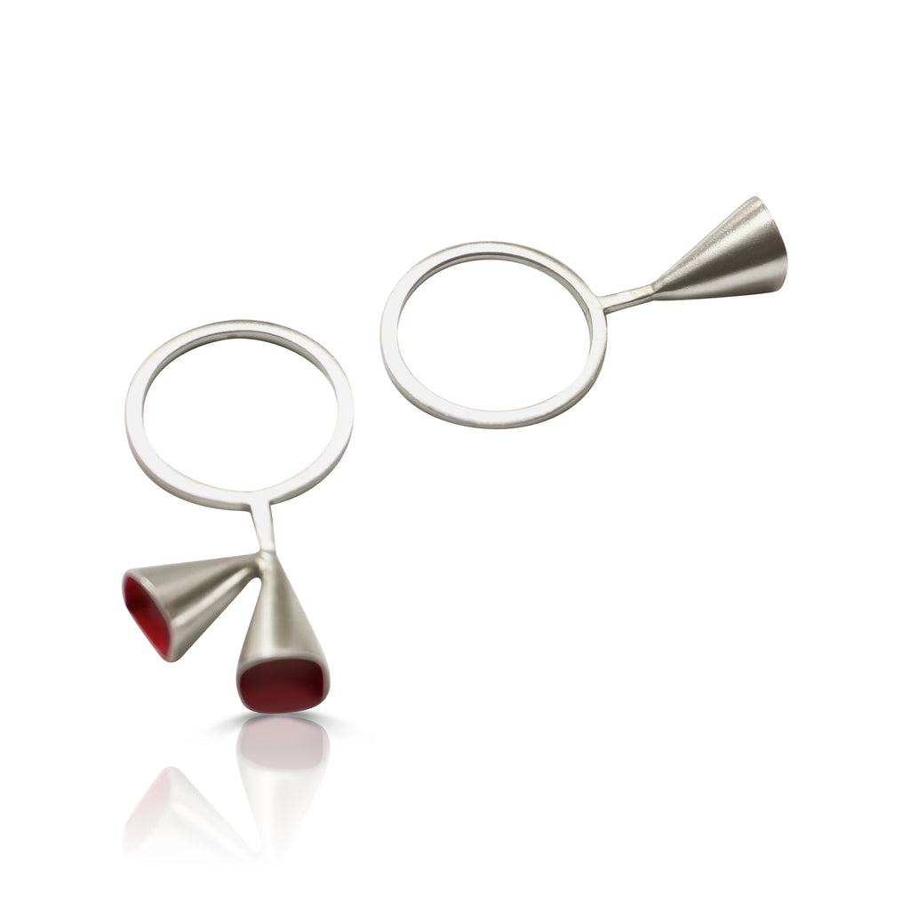 Anja Berg - Silver and Red Enamel Three Chalice Designer Ring on IndieFaves