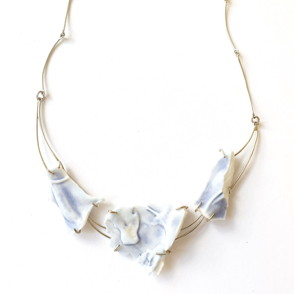 Anne Menzel Porcelain Blue Fragments Designer Necklace on IndieFaves