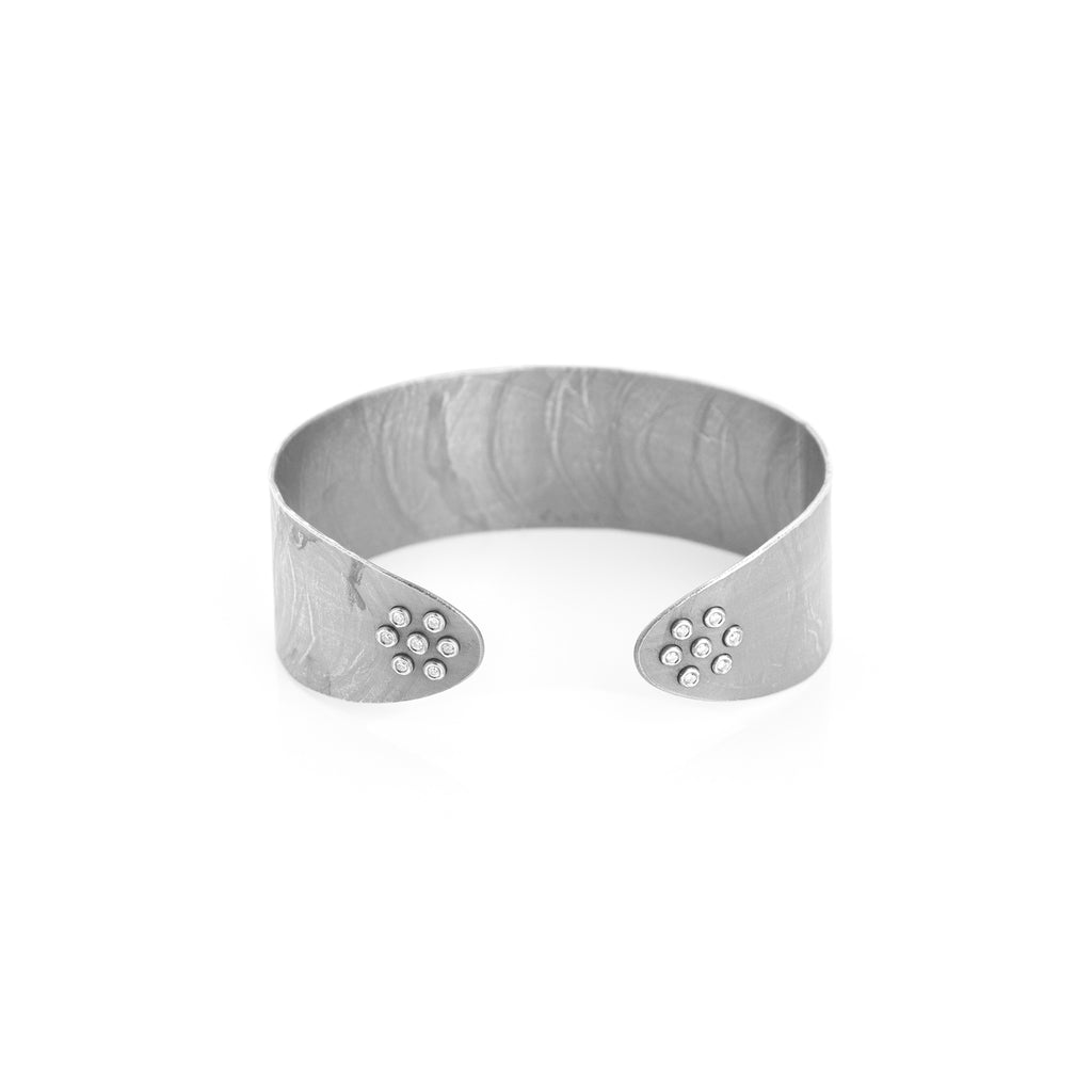 Sterling Silver with Diamonds Wafer Designer Cuff on IndieFaves