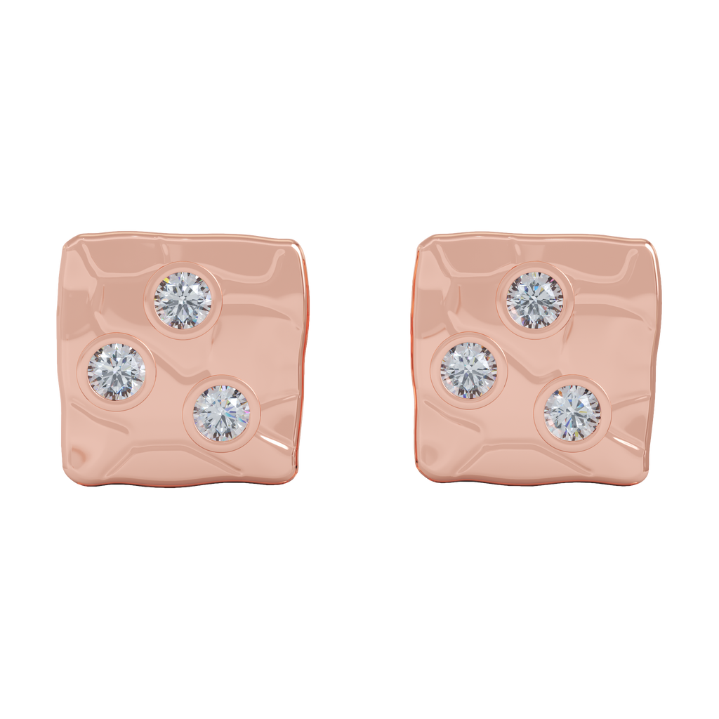 Ayesha Studio Rose Gold with Diamonds Studs